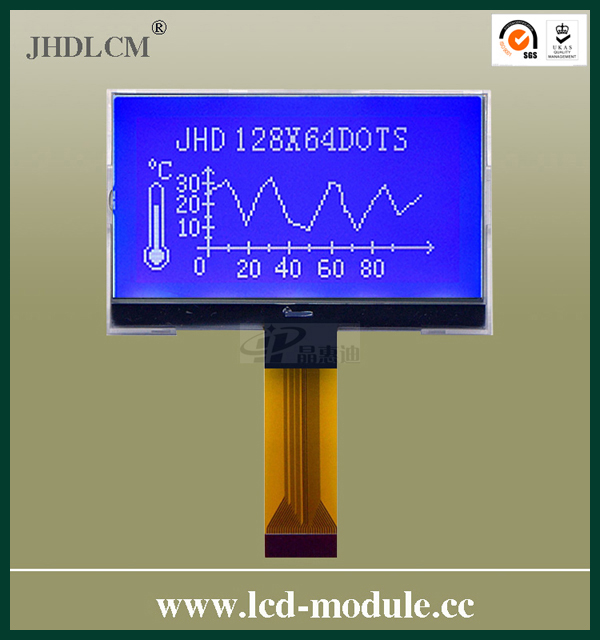 shenzhen promoted customized 128X64 lcd display JHD12864-G36BSW-BL