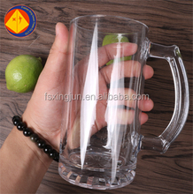 Custom 17 oz thin printed logo wheat beer glass with handle