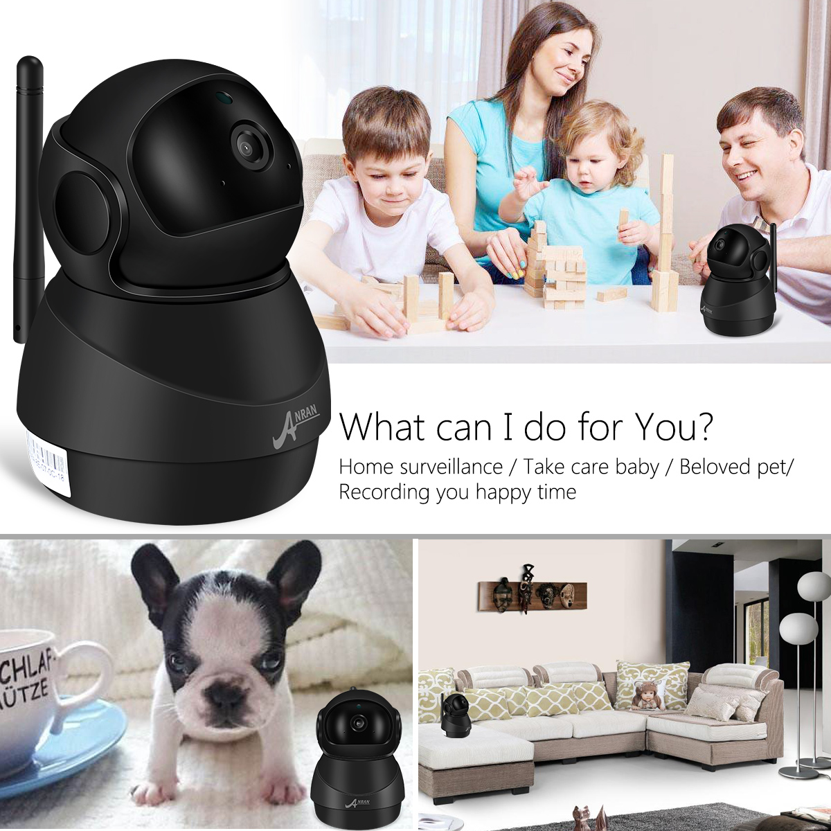Anran 1080P P2P SD card home Indoor wifi robot camera IP