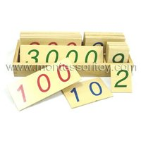 Large Wooden Number Cards With Box (1-3000) Montessori toy of educational material