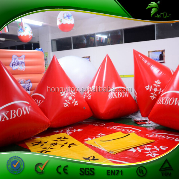 Red Customized Shape Gaint Floating Buoy Inflatable Ocean Buoys for Sport game Advertising with logo Print