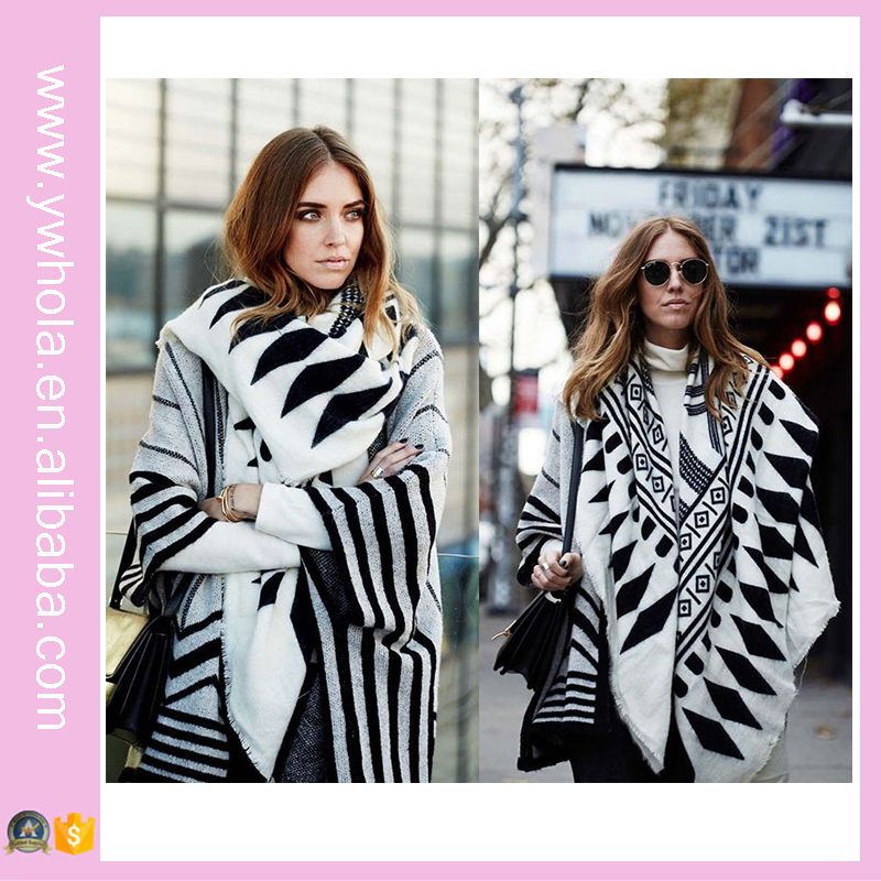 New 2016 Winter Fashion Lady Scarf Fashionable White and Black Stripe Scarf Shaw Scarf