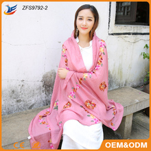 2017 new products embroidery style viscose esarp scarf