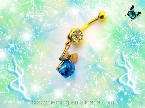 3D Diamond Crystal Cube Navle Ring Neoglory Sea Blue With Gold Bow Belly Button Ring Body Piercing Jewelry