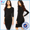 wholesale sounth cotton dress material long sleeve dress in black