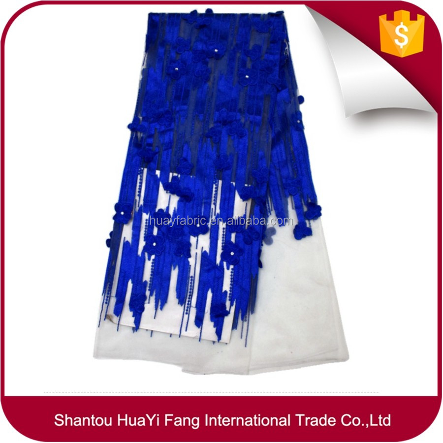 Royal blue High Quality Lace Fabric For Sale Ankara Lace Fabric HY0389