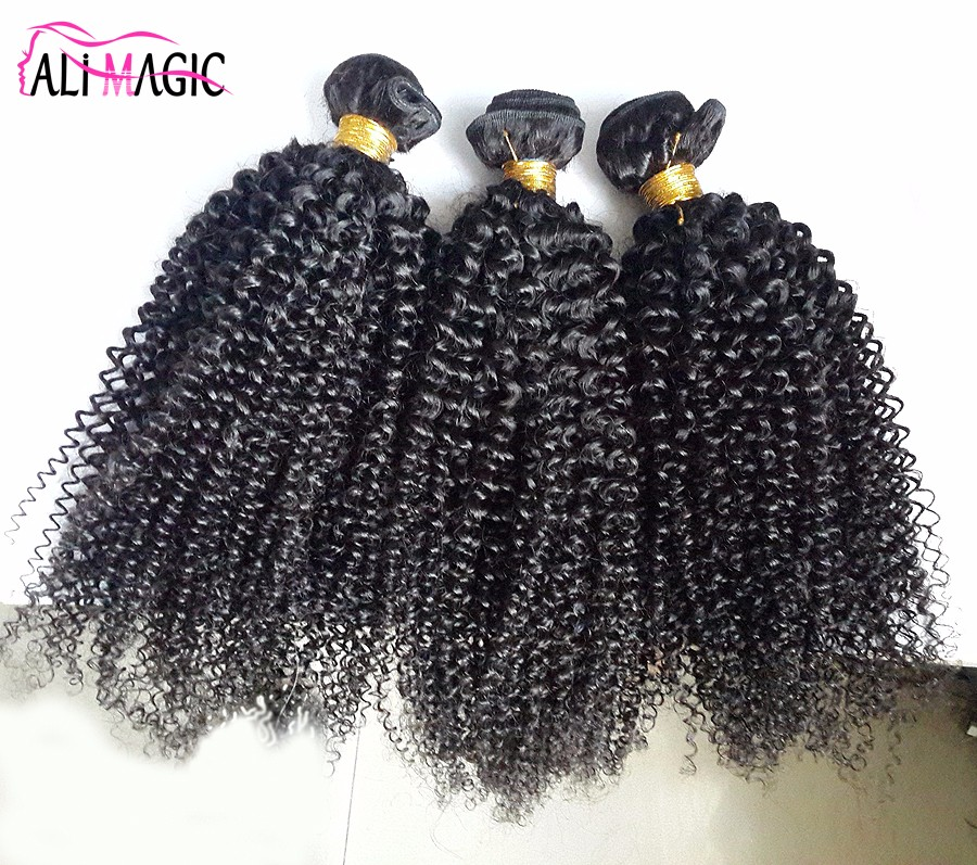 2017 Perfect Afro Kinky Human Hair Natural Curly Hair Extensions African American 5A Wholesale Brazilian Hair Ali Magic Cheap