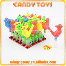 Wholesale candy sweets bird shape pipe toy candy with whistle