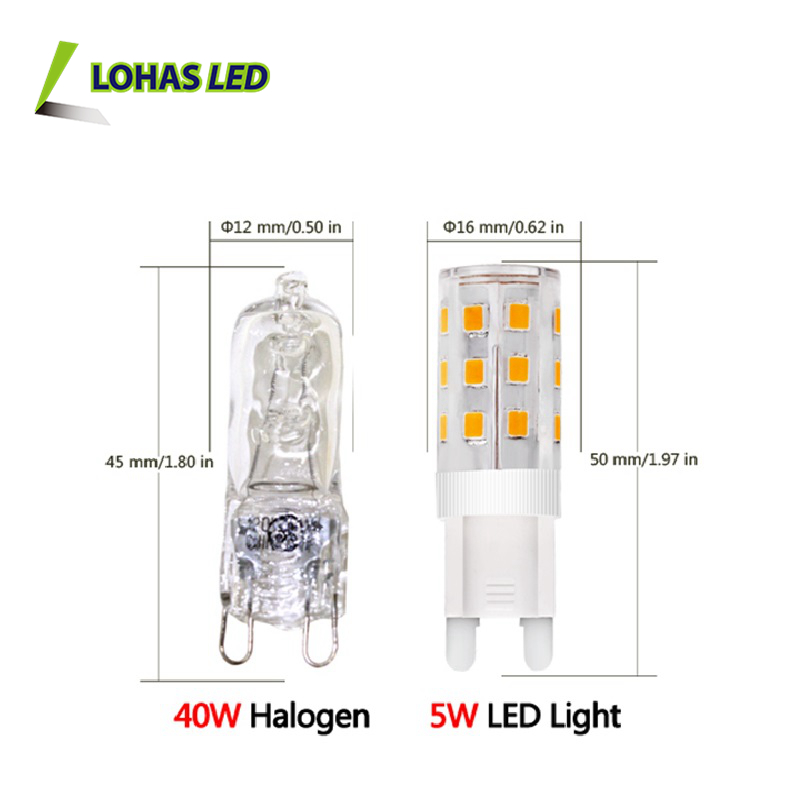Alibaba Express G9 LED Bulb Dimmable G9 LED 110V AC 220V 1w 2w 3w 4w 5w 6w 7w 8w 4000K Led Light G9 bulb replacement 40w halogen