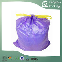 Drawstring trash bags on roll
