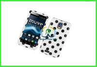brand new Cell Stylish Hard Snap-On Protective Case for ZTE Engage V8000 Black/White Polka Dots
