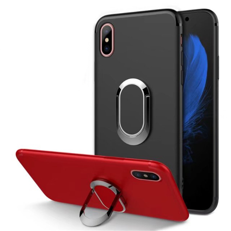 360 Degrees Rotation with Ring Grip Holder Soft TPU Stand Cover Case For iPhone X