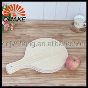"Eco-friendly JCWPT4230R 12"" 420 * 305mm Round New Zealand Pine Wooden Pizza Serving Board, Wood Pizza Peel, Pizza Tool"