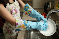 Beautiful Flocklind Household Rubber Glove With PU/PVC/Oxford Cuff