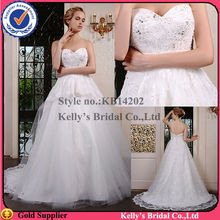 2015 newest design and lovely sweetheart Appliqued lace bodice of & layer skirt of dresses for celebration
