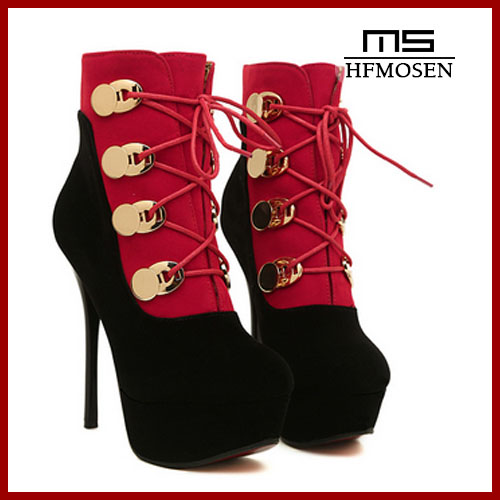 S2214 women shoes fashion Europen and American super high-heeled ankle boots lace up sexy nightclub pumps