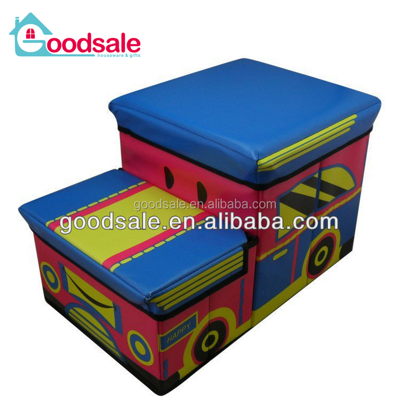 Safety coating pvc leather kids JEEP car shape ottoman storage chair folding storage box