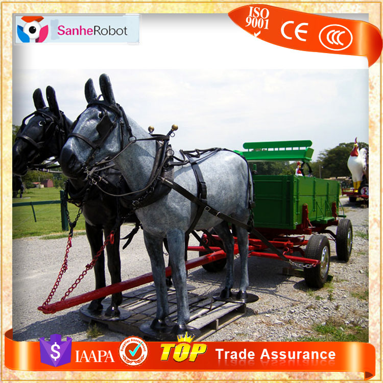 Horse drawn carriages manufacturer beauty equipments Fiberglass life size horse carriage for sale