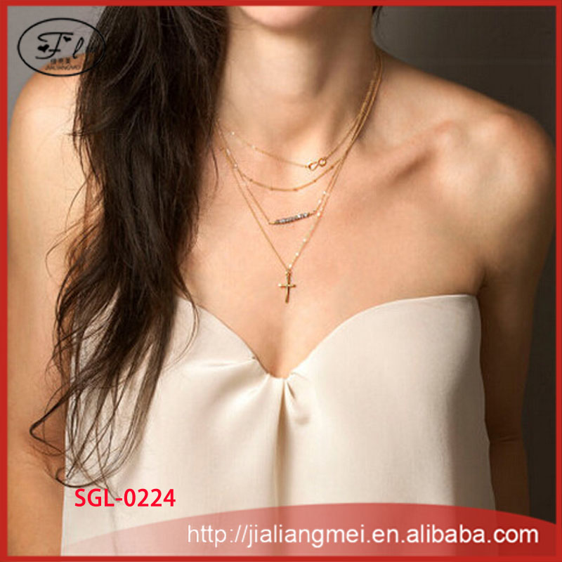 Fashion jewelry 8 characters cross crystal necklace short paragraph for women chain