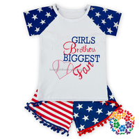 imported children boutique garment 4th of july shirt and shorts clothes sets