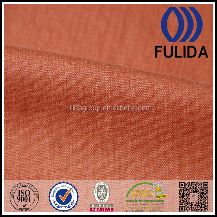Cotton rayon yarn orange woven twill bamboo fabric for business suit for women
