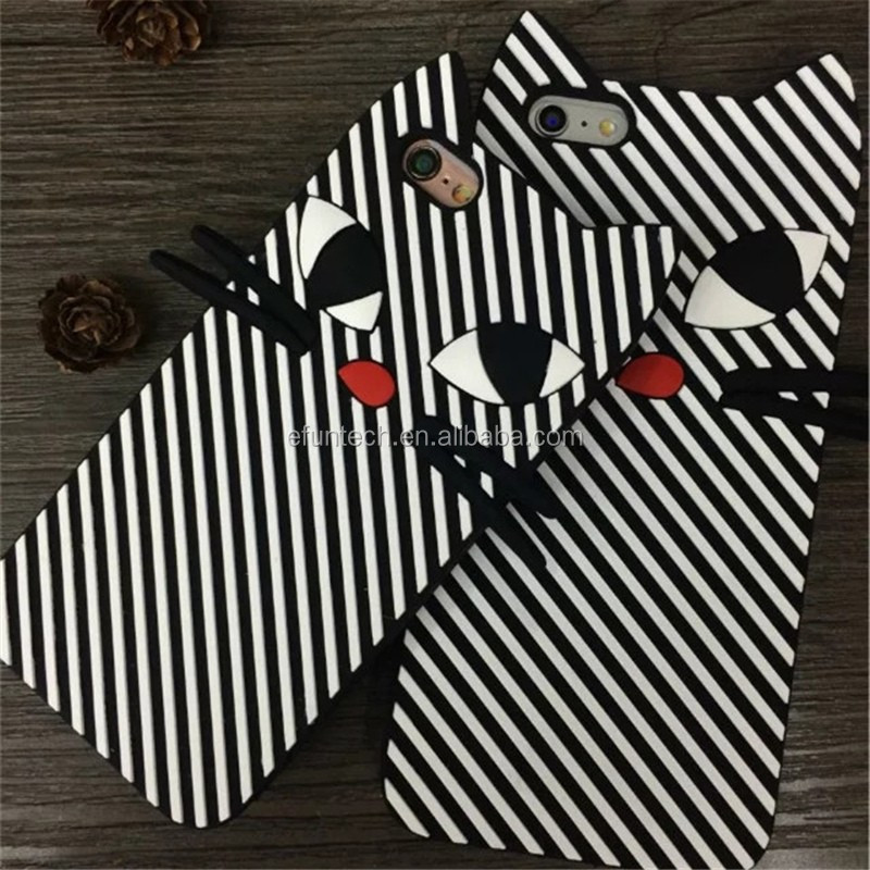 New arrival zebra stripes cat silicon mobile phone case for iphone 5 5s SE case