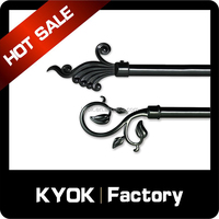 KYOK Cheap High quality spray powder black iron curtain rod for window ,curtain rod made in China