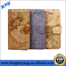 Map pattern fashion PU leather wallet smart cell phone case for iPhone 5c.
