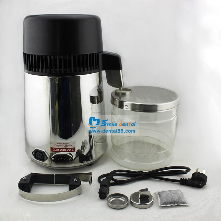 Stainless steel dental water distiller with glass bottle