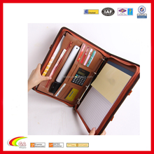 2016 hot sale new fashion breif case leather portfolio,leather portfolio with tablet pen folder pocket and handle