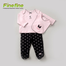 New Born 100% Cotton Baby Girls Clothes Set Customize Baby Clothing Set 3pcs with Bibs