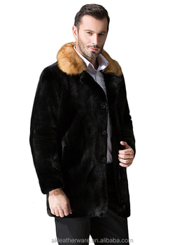 Classic Long Black Mink Fur Coat for Men