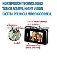 touch screen, night vision peephole door viewer peephole video doorbell with photo shooing and video recording