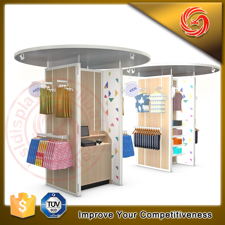 Modern retail children clothing kiosk garment shop interior design