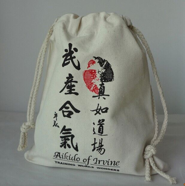 custom eco-friendly cotton embroidered drawstring bags