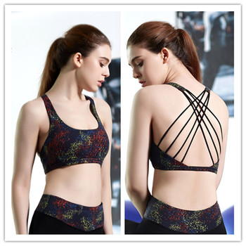 2016 Fashion Anti static Printing Cross Back Fitness Yoga Sports Bra without rims