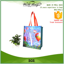Custom promotional full colour printing laminated rpet bag shipping bag wholesale