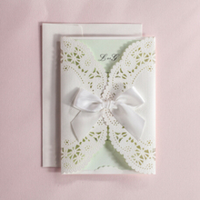Indian Luxurious Mint Green Wedding Invitation Card With Silk Bow Tie