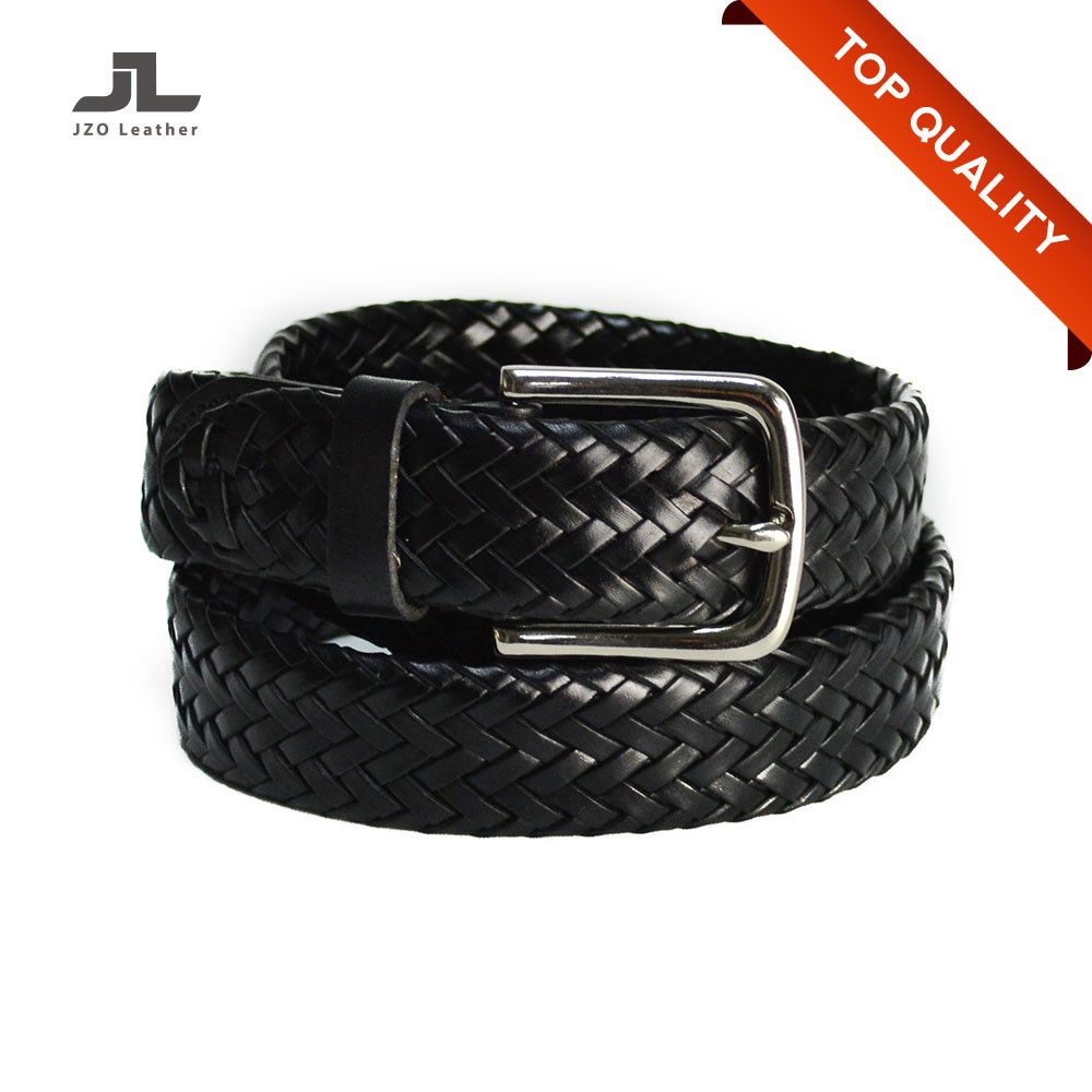 Wholesale Custom Mens Jean Genuine Spanish Leather Braided Belt without Holes