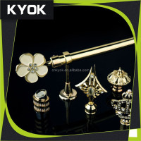 KYOK home decoration project wooden curtain rod bracket ,metal curtain rod bracket ,double curtain rod factory