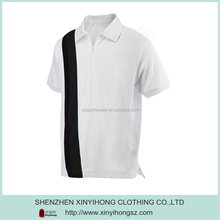 White Black Combinations Polyester Zipper Up Retail Polo Shirt