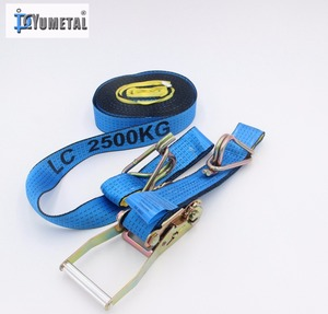 Blue Color Polyester Webbing Sling With Rachet Buckle & J Hook