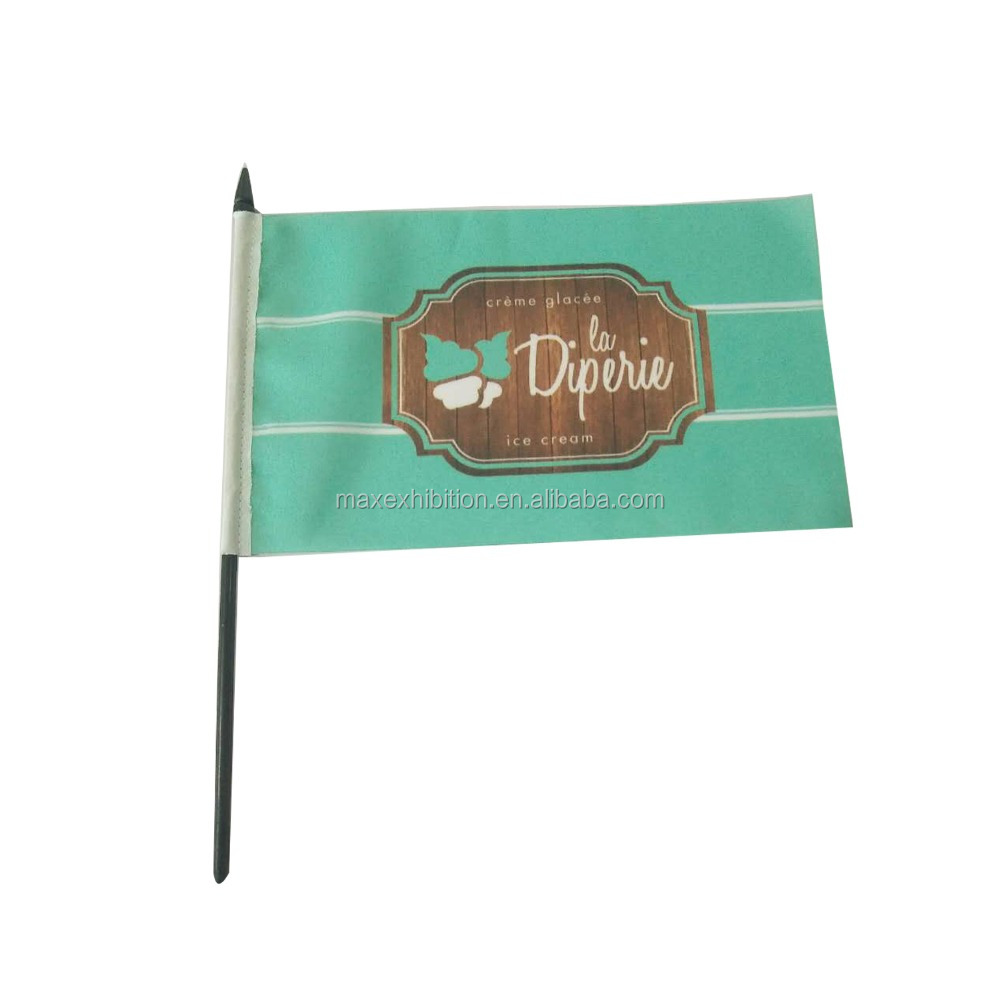 high quality factory supply country pattern hand waving wooden pole flag