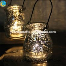 luxury candle holders silver mercury hanging glass candle jars made in China