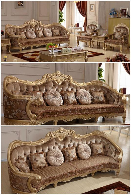 Purple Fabric sofa Excellent 5 seater classic sofa set