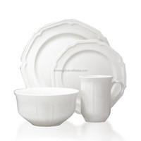 Antique White 16-Piece Dinnerware Set, Service for 4 dinner set porcelain