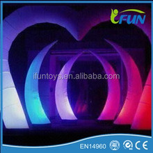 LED inflatable heart shape arch decoration/inflatable heart shape arch/inflatable wedding heart shape arch decoration