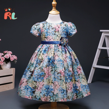 2018 alibaba express china children frock model cotton rose blue kids party wear dresses multi flower print baby dress girls