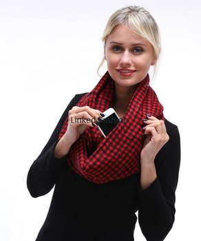 new style solid color infinity scarf scarf with pocket scarf with zipper pocket