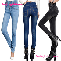 High waist new designs women tight tops and jeans photos